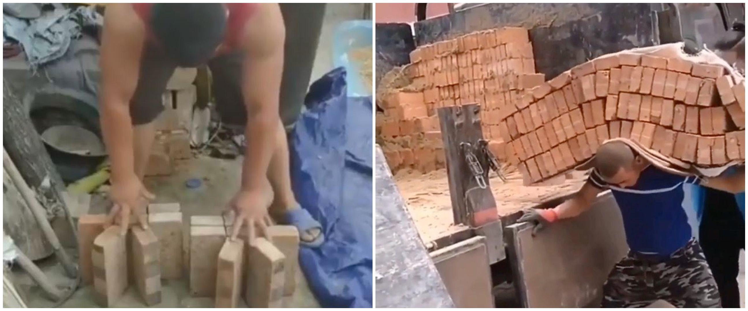 Aksi mencengangkan 10 tukang bangunan saat bawa material, kuat banget