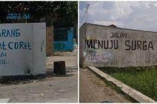10 Tulisan nyeleneh di tembok jalanan ini bikin mikir dua kali