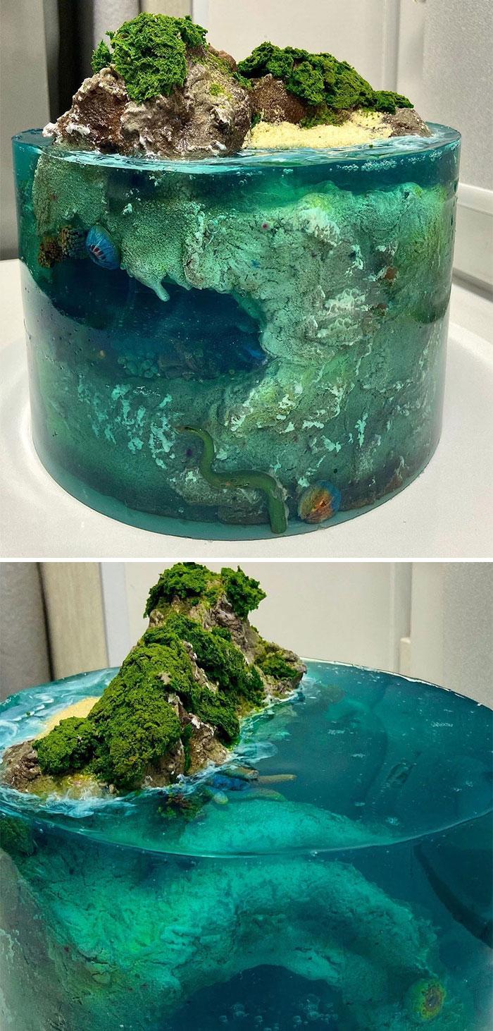 Kue tiga dimensi berbentuk pulau boredpanda