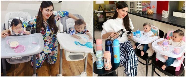 8 Momen Syahnaz Sadiqah beri MPASI untuk anak kembarnya, telaten