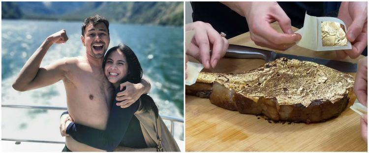8 Potret Nagita & Raffi Ahmad makan steak berlapis emas 24 karat