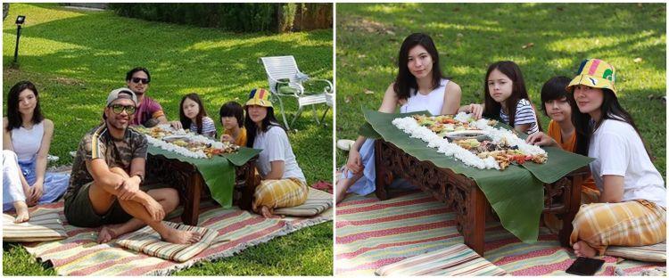9 Momen liburan Wulan Guritno & keluarga, makan beralas daun pisang