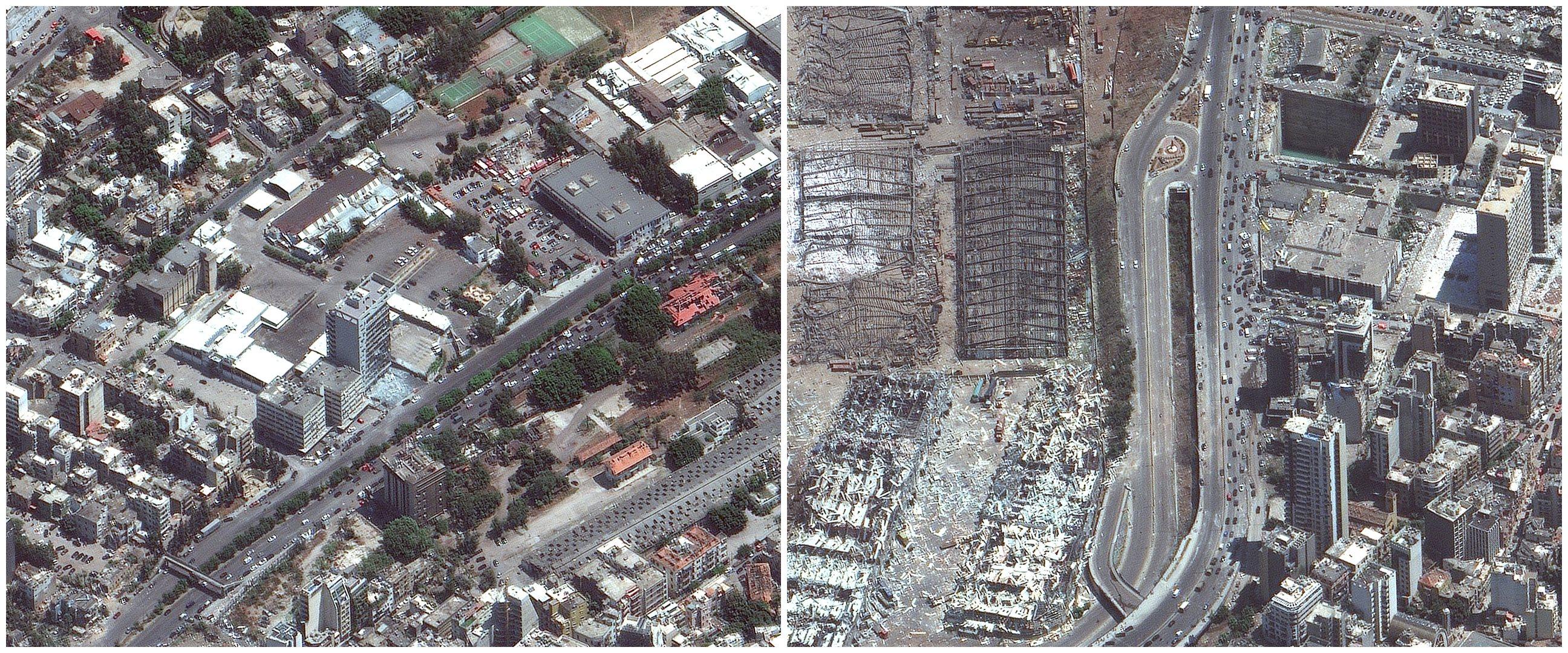 6 Foto satelit Beirut Lebanon sebelum dan sesudah ledakan