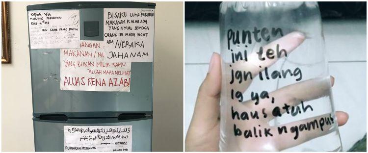 8 Peringatan lucu di kulkas anak kos ini bikin maling auto tobat