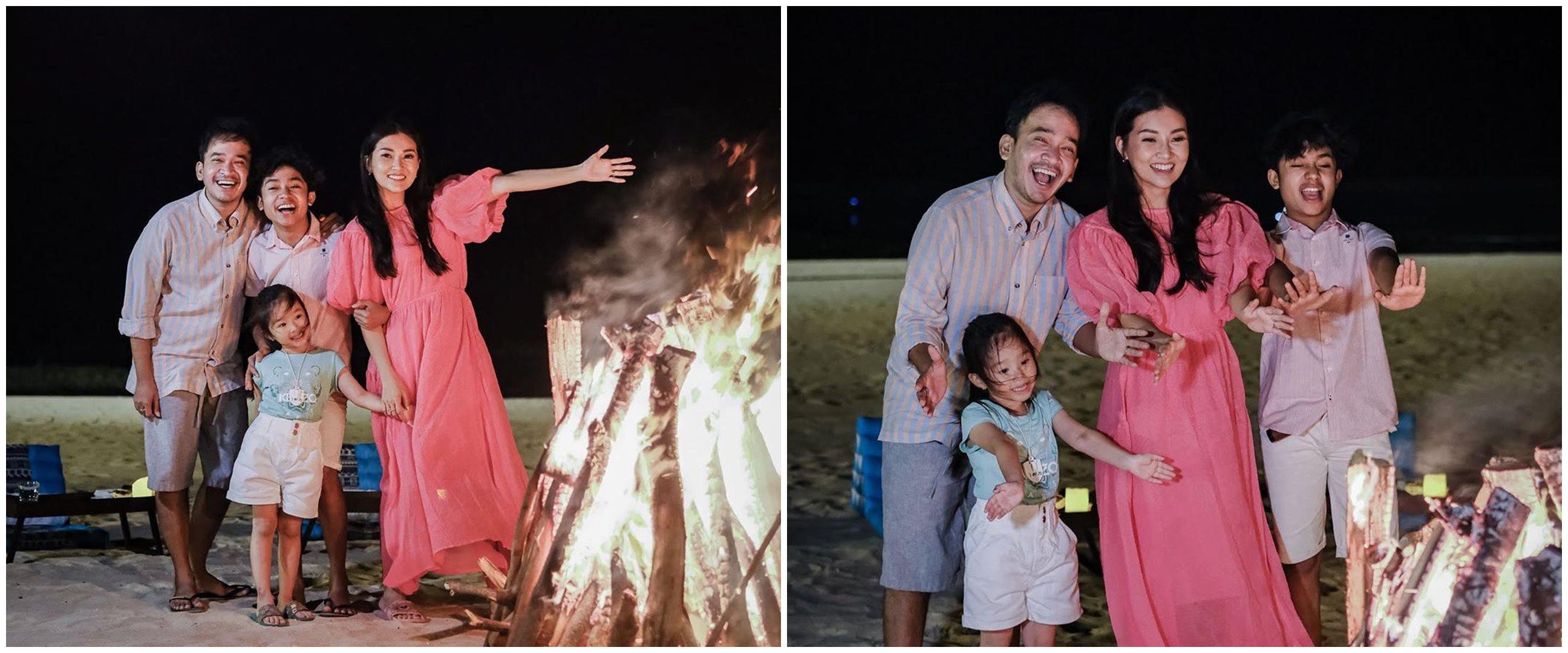 12 Momen liburan Ruben Onsu dan keluarga, camping di pinggir pantai