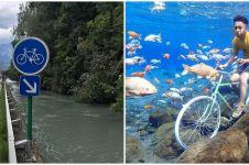10 Editan foto jalur sepeda di sungai ini nyelenehnya bukan main