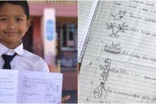 Tak punya printer, anak ini tulis dan gambar semua materi sekolah
