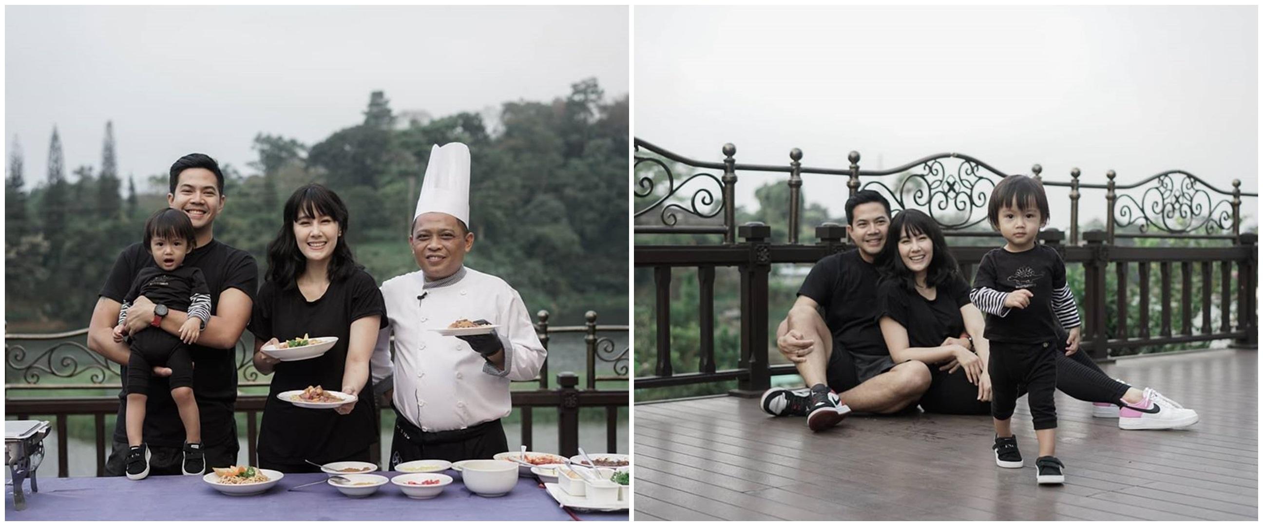 8Momen liburan Ardina Rasti & keluarga, ikut kelas memasak