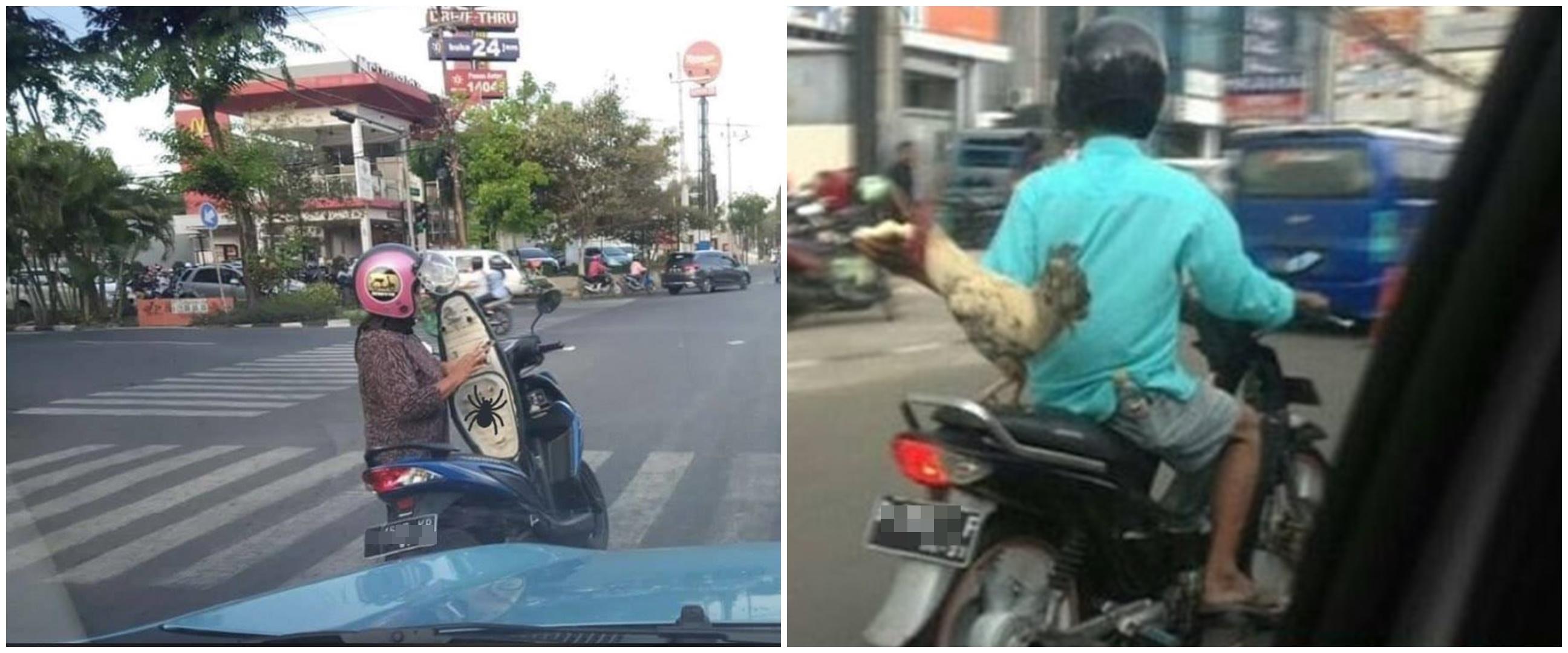 10 Kelakuan nyeleneh orang Indonesia saat naik motor, nyantai abis