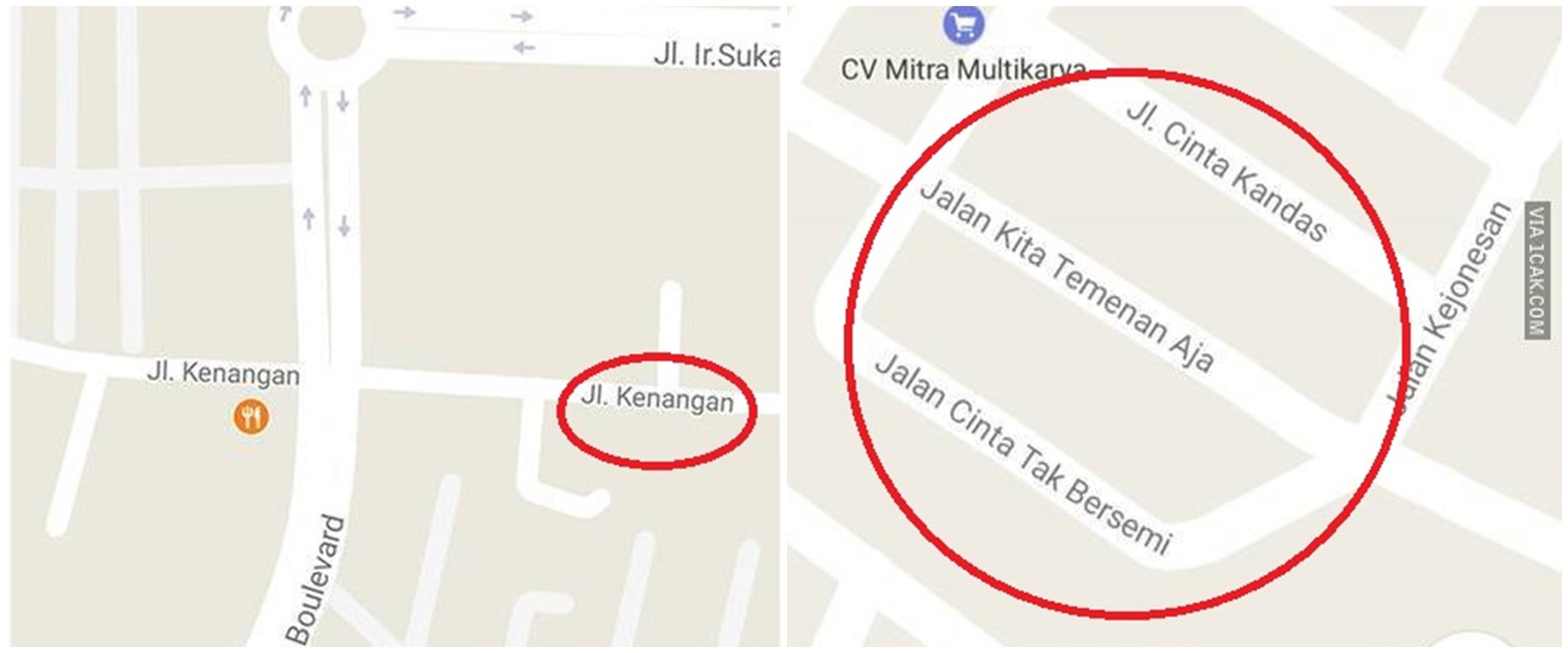 10 Nama jalan di Google Maps ini lucunya bikin jomblo baper