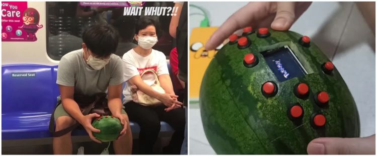 Viral konsol video game dibuat dari kulit semangka, unik banget