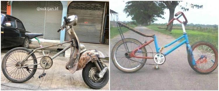 10 Potret lucu kreasi nyeleneh sepeda ini bikin geleng kepala