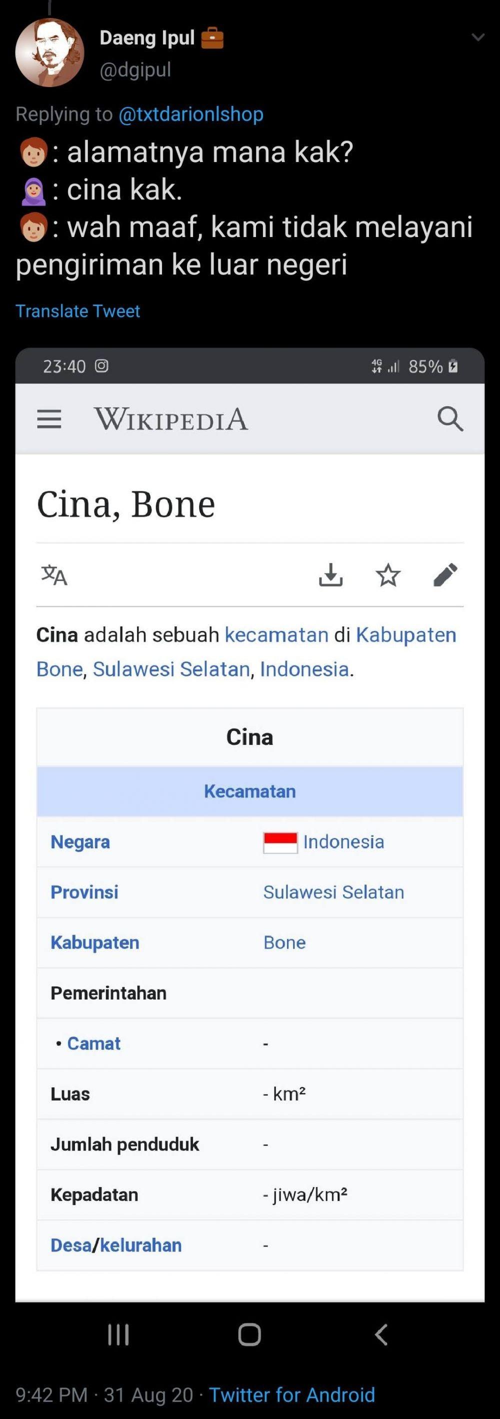 nama kota unik Twitter