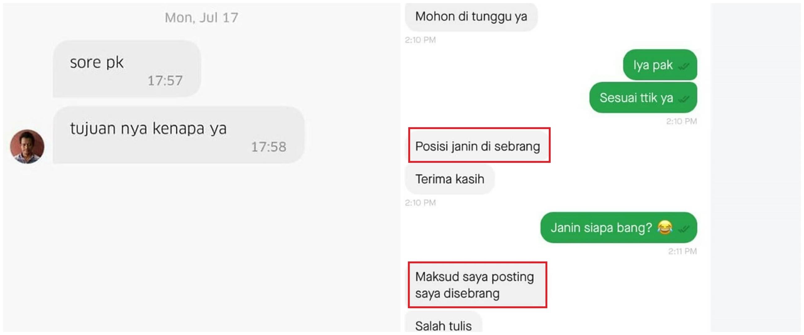 10 Chat typo lokasi penjemputan ojek online ini bikin salah paham