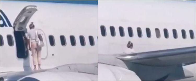 Wanita penumpang pesawat nekat buka pintu darurat & duduk di sayap