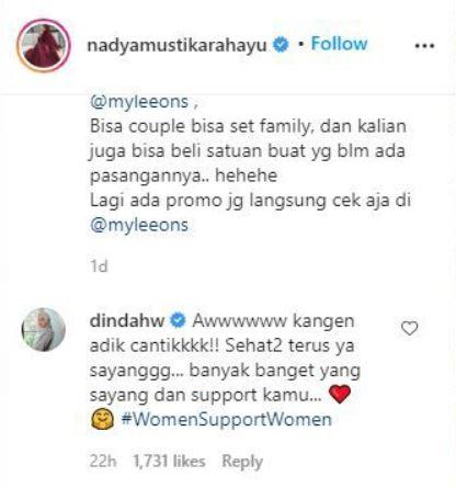 Dinda Hauw dukung Nadya © 2020 brilio.net Instagram
