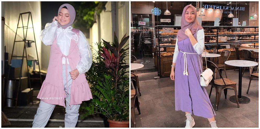 beda gaya fashion hijab putri & shania Instagram