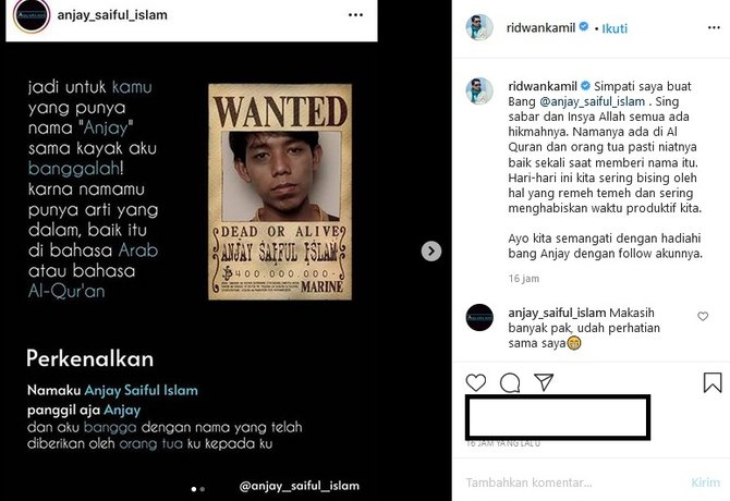 viral pria bernama anjay Instagram