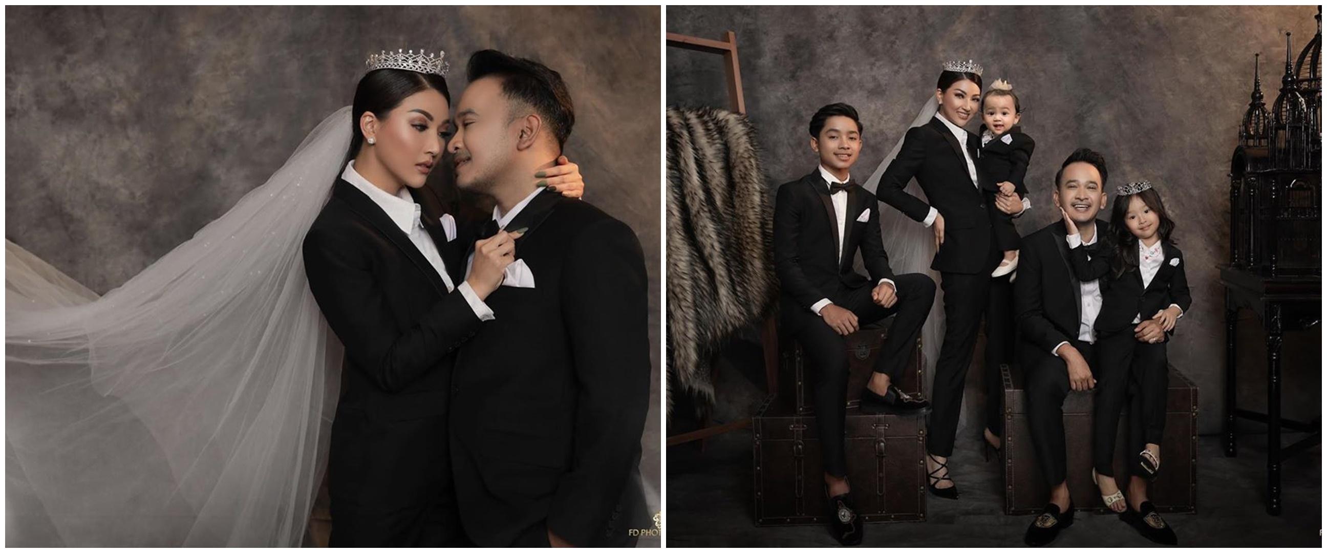 10 Gaya keluarga Ruben Onsu pemotretan tema hitam, simple tapi elegan