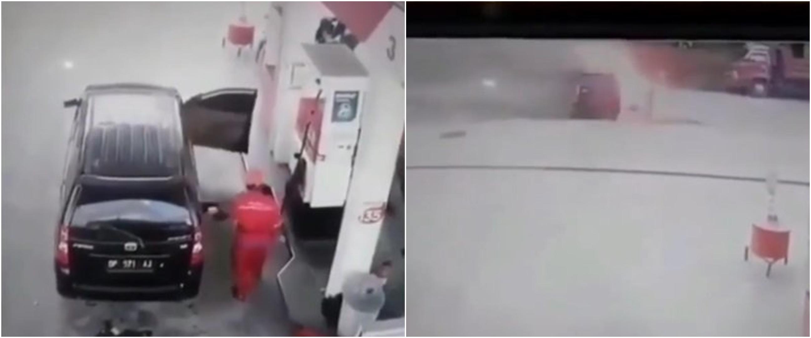 Aksi heroik pria pindahkan mobil yang terbakar di pom bensin