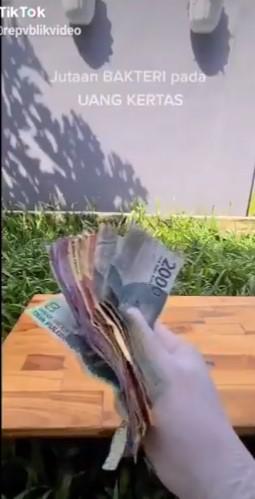 Video bakteri uang kertas Twitter/@republikvideo