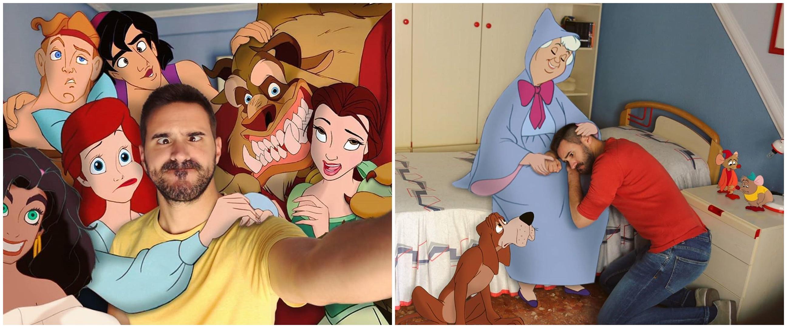 17 Editan foto pria bareng karakter Disney ini bikin takjub