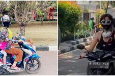 Momen 7 seleb boncengin anak naik motor, gayanya curi perhatian