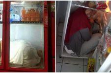 20 Potret orang 'ngadem' di kulkas ini bikin tepuk jidat