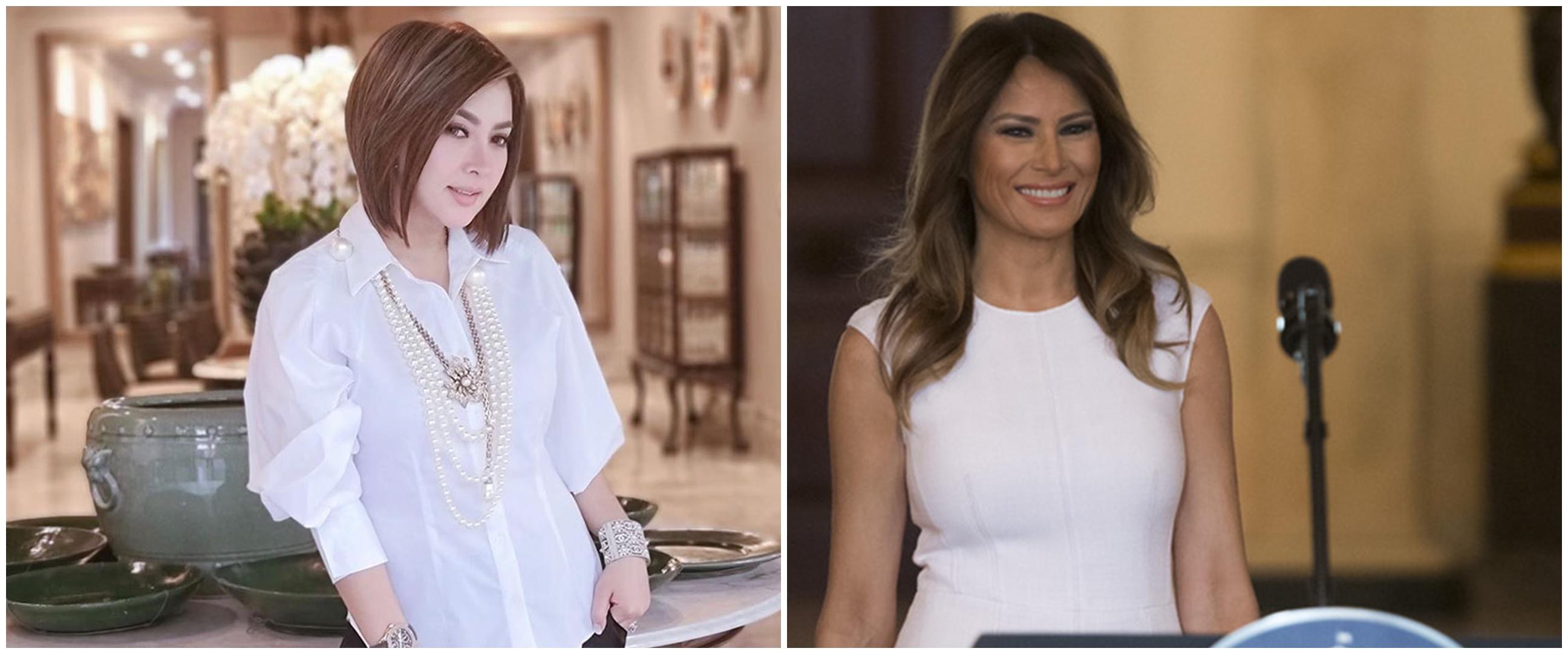 Momen Syahrini kenakan pakaian kembar Melania Trump, curi perhatian