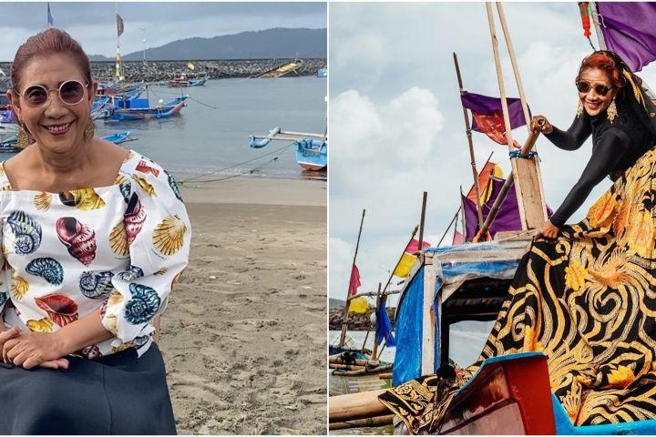 9 Momen pemotretan Susi Pudjiastuti di pantai, gayanya bak model