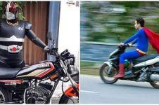Aksi lucu 10 pengendara motor pakai kostum superhero ini nyeleneh abis