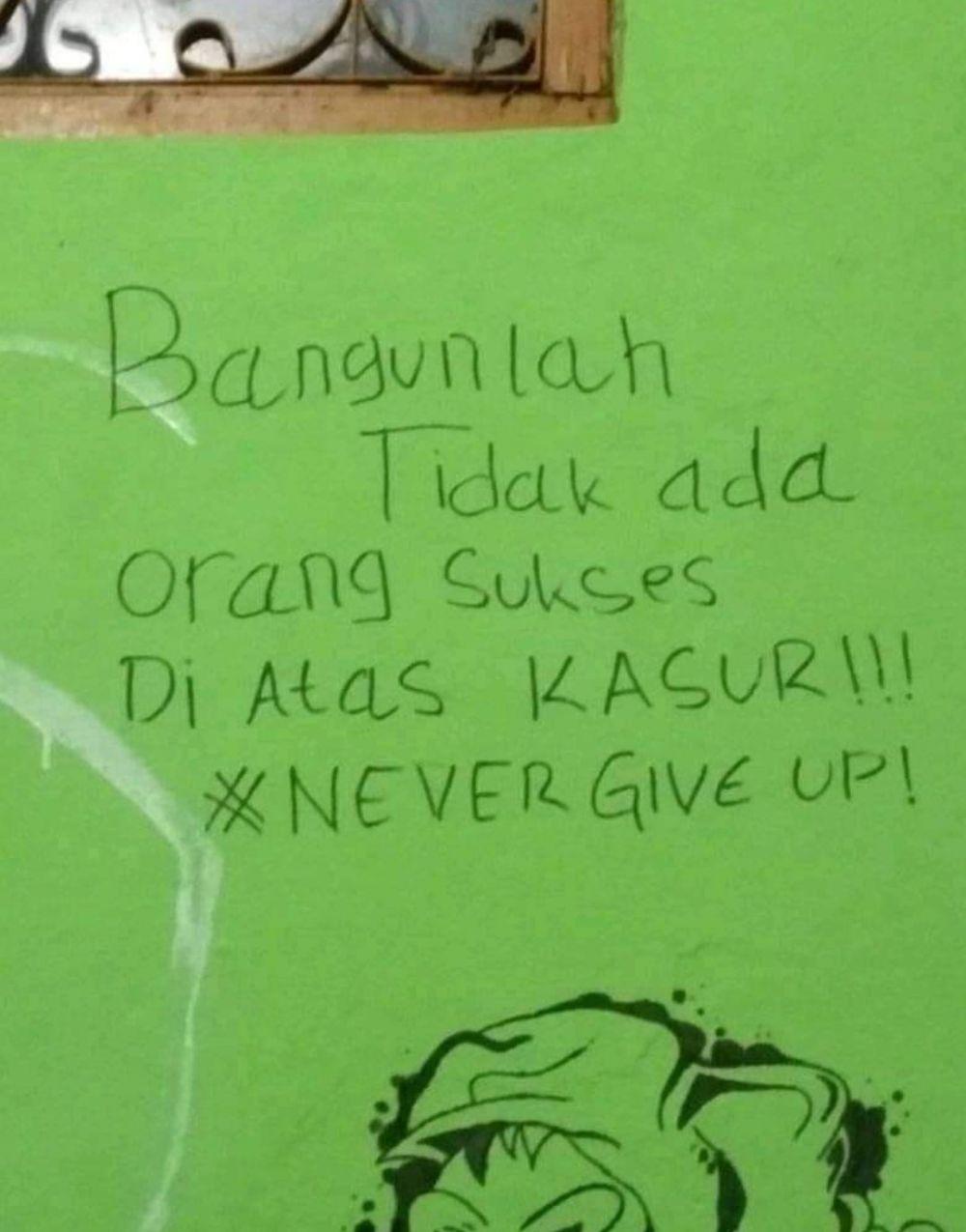Tulisan motivasi di tembok Twitter