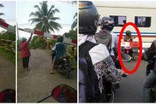 15 Momen gereget emak-emak nggak sabaran, palang kereta diterobos