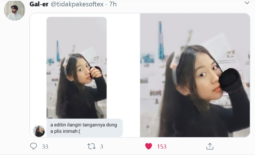 Wanita minta edit kocak Twitter/@tidakpakesoftex