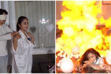 10 Momen kejutan ultah suami Dewi Perssik, terjadi ledakan balon gas