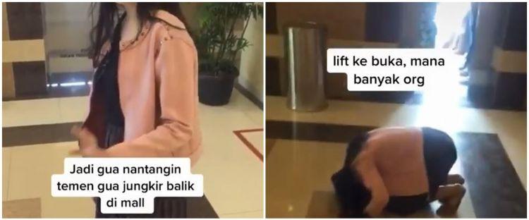 Aksi perempuan saat ditantang jungkir balik di mall, endingnya kocak