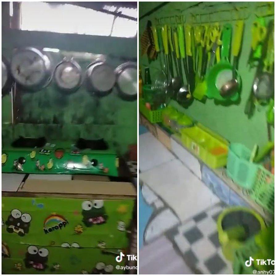 rumah tema keroppi serba hijau TikTok