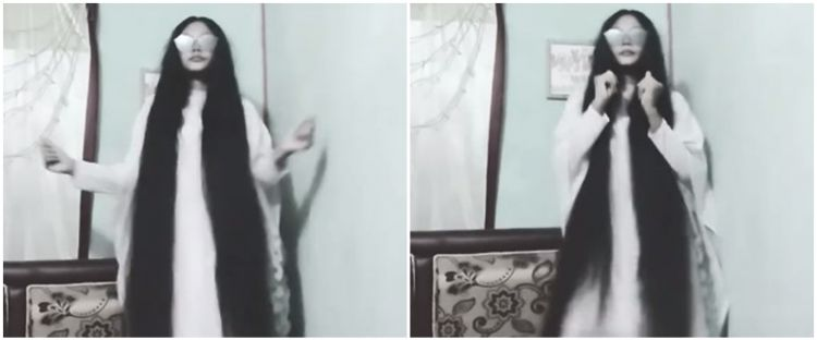 Viral video cewek kenakan busana putih, penampilannya mirip hantu