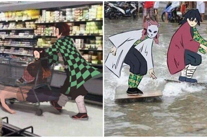 14 Editan foto ini gunakan karakter anime Demon Slayer, kocak