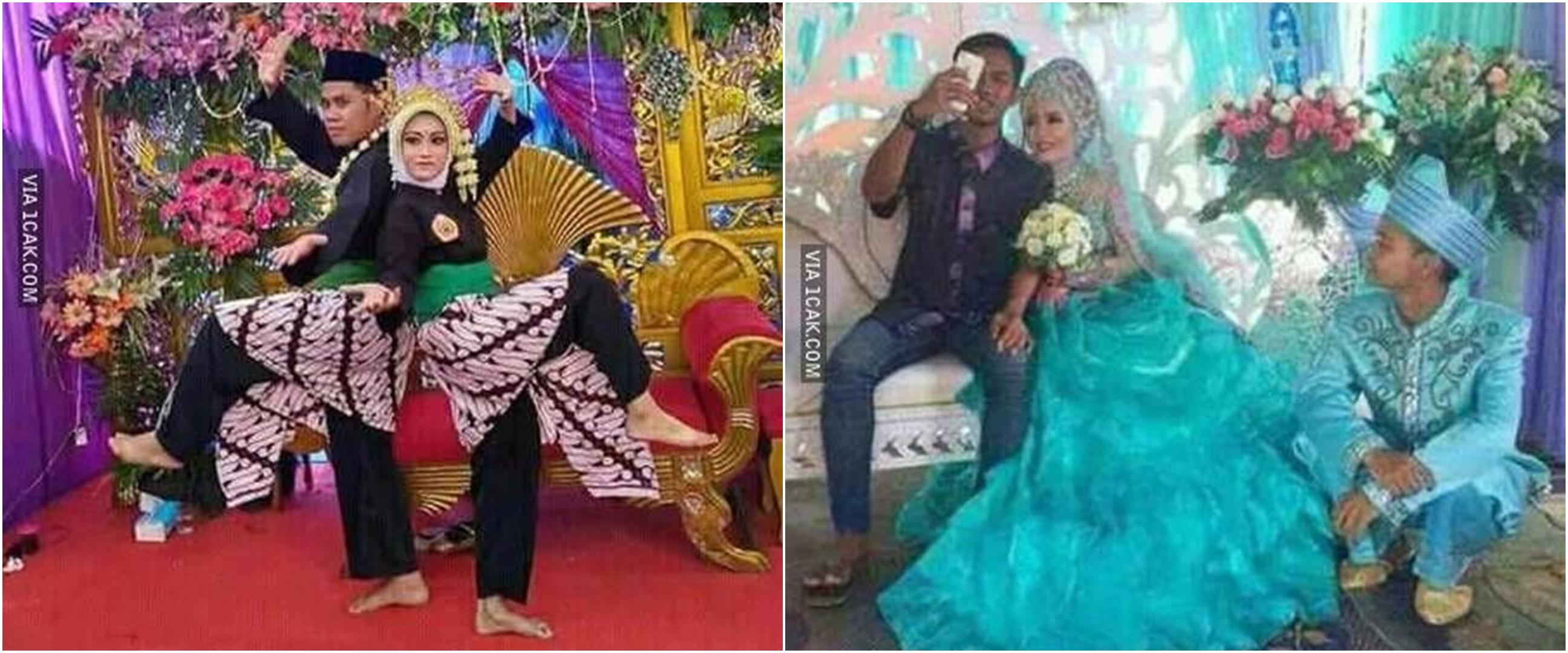 11 Kelakuan nyeleneh pengantin saat di pelaminan, bikin senyum kecut