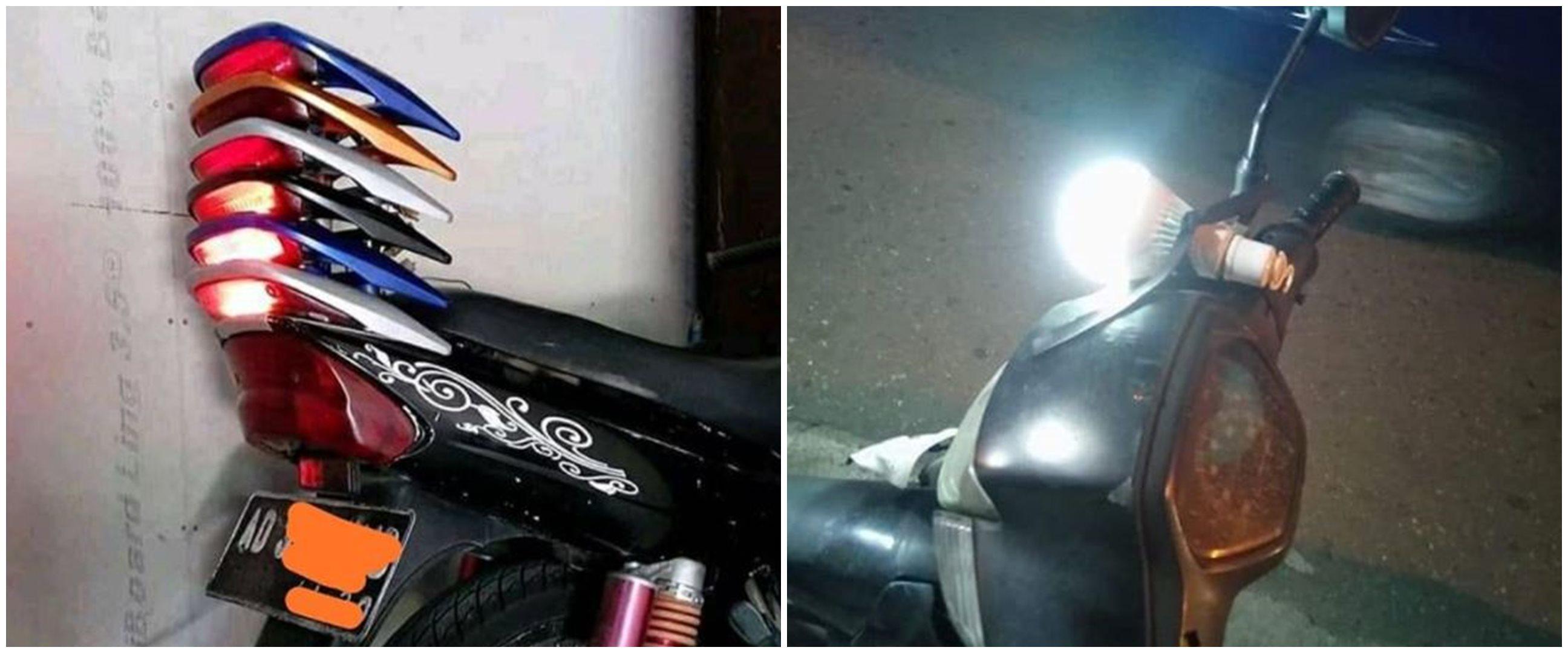 10 Modifikasi lampu motor ini bikin anak motor cekikikan