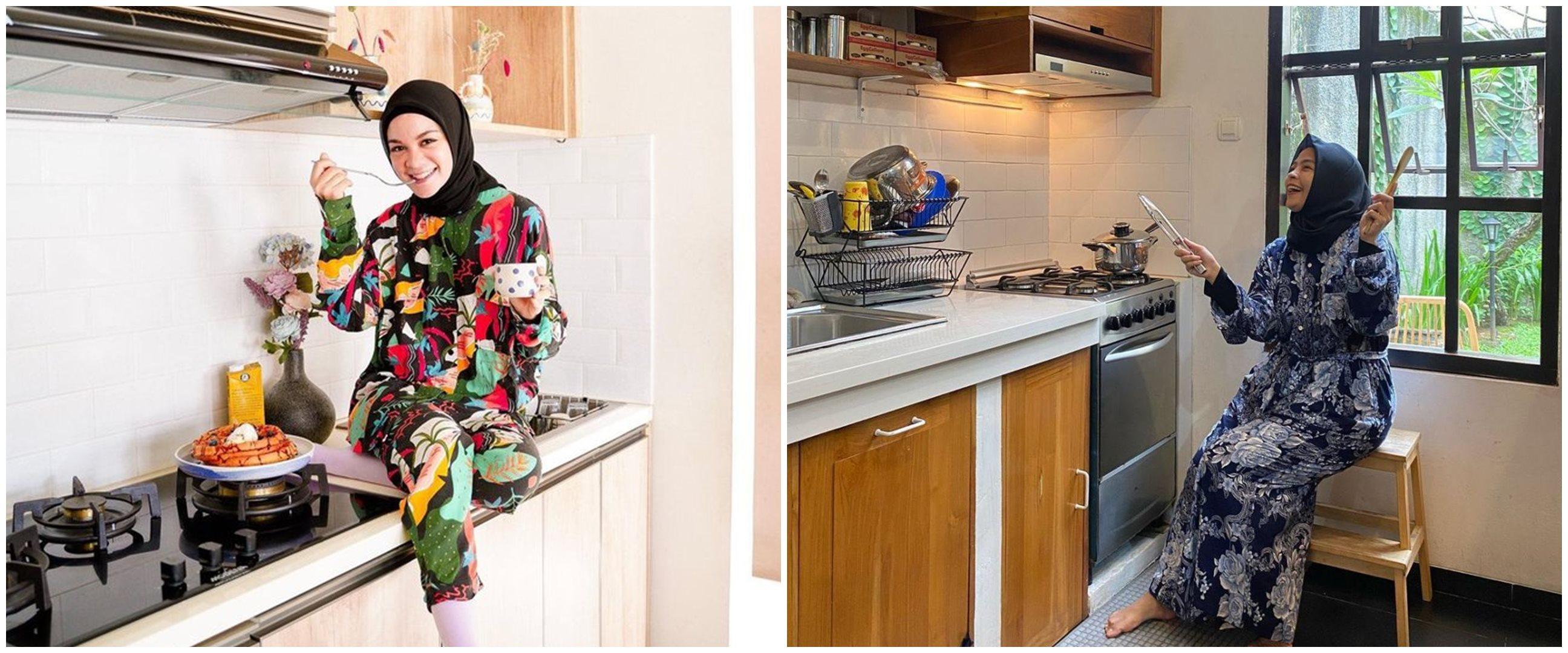 Gaya 9 seleb berhijab saat pemotretan di dapur, simpel tapi kece abis