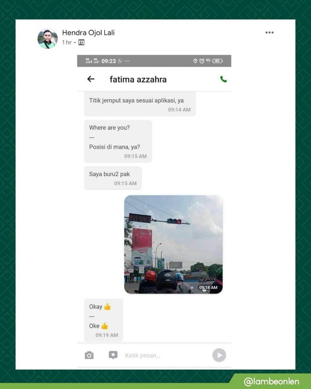 Chat ojek online pakai gambar berbagai sumber