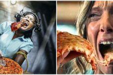 10 Editan foto tokoh film horor makan pizza, gagal seram