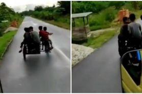 Viral rombongan anak kecil naik gerobak di jalan raya, endingnya apes
