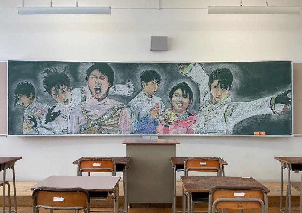 Viral guru asal Jepang gambar personel BTS pakai kapur Instagram