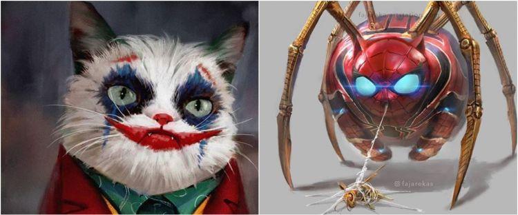 9 Karakter film superhero diedit jadi kucing, absurd abis