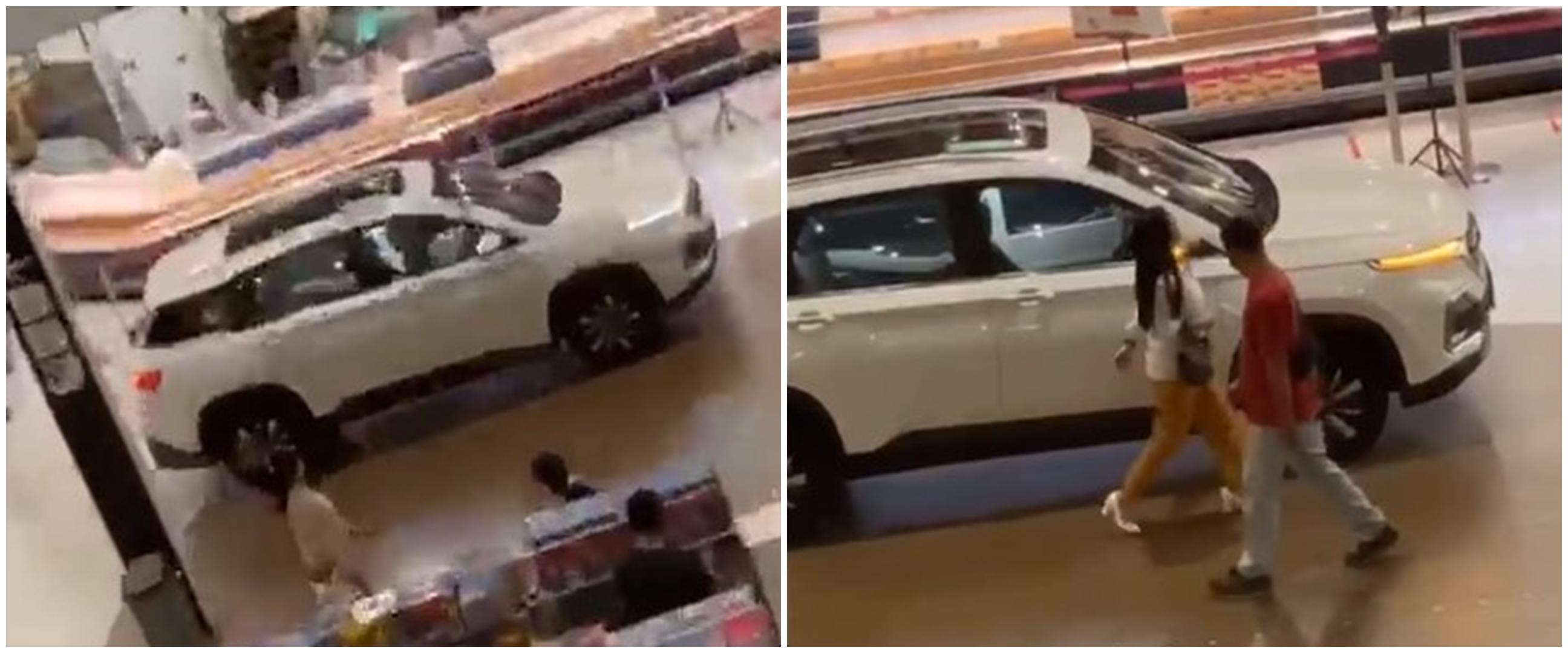 Viral perempuan parkir mobil di dalam mal, bikin heboh