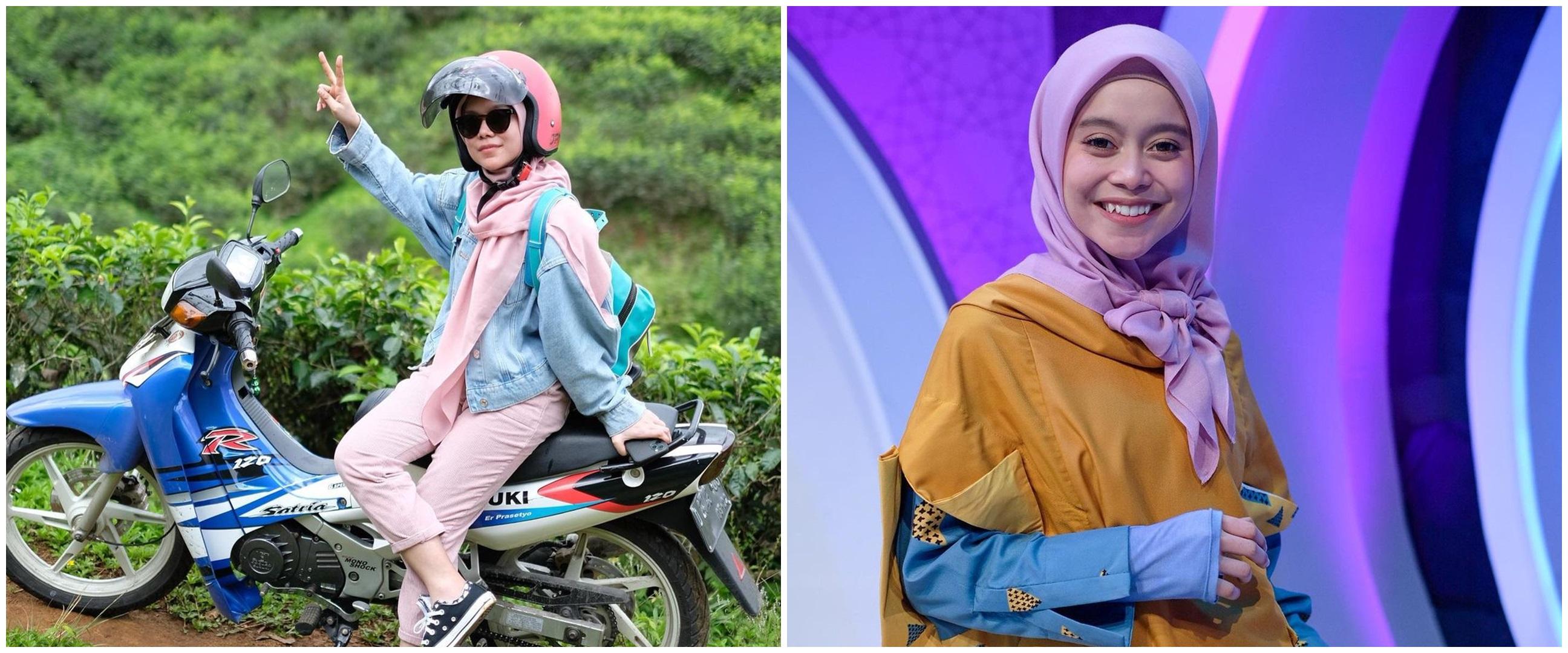 Momen Lesty Kejora pulang kampung naik motor, curi perhatian
