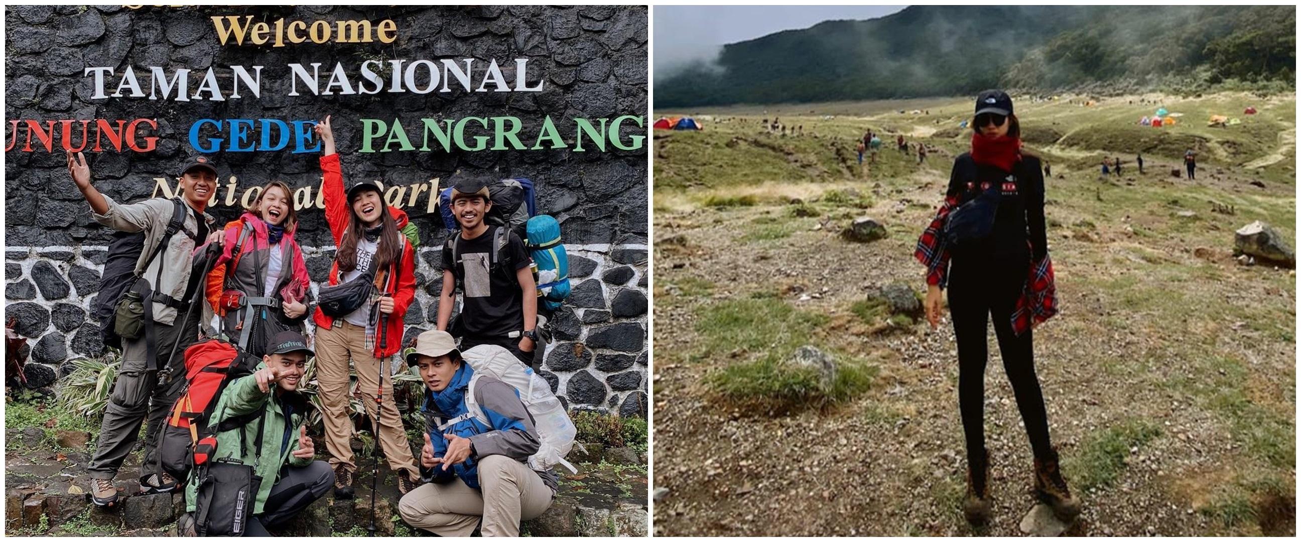10 Potret pendakian Febby Rastanty di Gunung Pangrango, seru abis